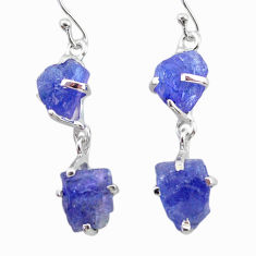 12.66cts natural blue tanzanite raw 925 sterling silver dangle earrings t21202