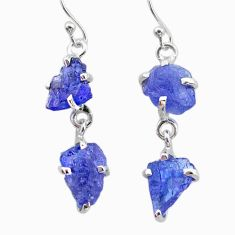 11.60cts natural blue tanzanite raw 925 sterling silver dangle earrings t21203