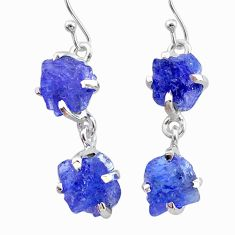 11.10cts natural blue tanzanite raw 925 sterling silver dangle earrings t21205