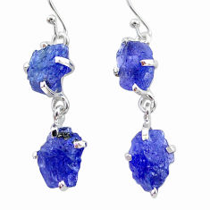 12.71cts natural blue tanzanite raw 925 sterling silver dangle earrings t21206