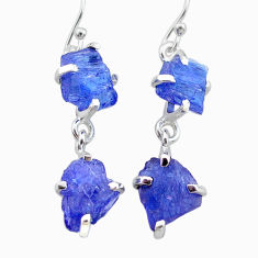12.04cts natural blue tanzanite raw 925 sterling silver dangle earrings t21208