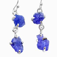 10.56cts natural blue tanzanite raw 925 sterling silver dangle earrings t21210
