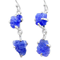 10.11cts natural blue tanzanite raw 925 sterling silver dangle earrings t21212