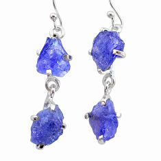 10.58cts natural blue tanzanite raw 925 sterling silver dangle earrings t21214