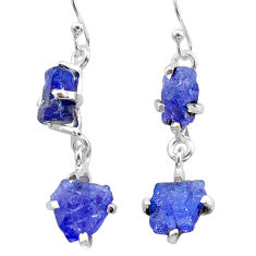 12.56cts natural blue tanzanite raw 925 sterling silver dangle earrings t21217