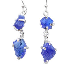 12.14cts natural blue tanzanite raw 925 sterling silver dangle earrings t21218