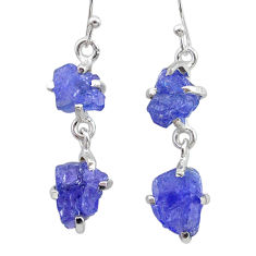 11.08cts natural blue tanzanite raw 925 sterling silver dangle earrings t21220
