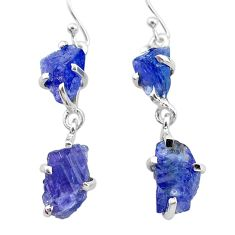 13.16cts natural blue tanzanite raw 925 sterling silver dangle earrings t21221