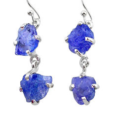 12.14cts natural blue tanzanite raw 925 sterling silver dangle earrings t21222