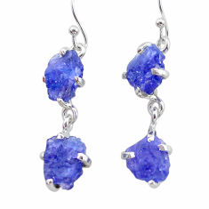11.08cts natural blue tanzanite raw 925 sterling silver dangle earrings t21223