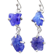 11.62cts natural blue tanzanite raw 925 sterling silver dangle earrings t21225