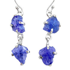 11.62cts natural blue tanzanite raw 925 sterling silver dangle earrings t21226