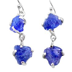 11.54cts natural blue tanzanite raw 925 sterling silver dangle earrings t21229