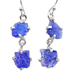 10.11cts natural blue tanzanite raw 925 sterling silver dangle earrings t21231