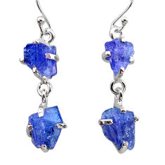 11.49cts natural blue tanzanite raw 925 sterling silver dangle earrings t21232