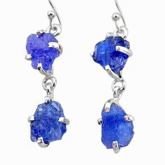 12.66cts natural blue tanzanite raw 925 sterling silver dangle earrings t21234