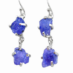 12.71cts natural blue tanzanite raw 925 sterling silver dangle earrings t21235