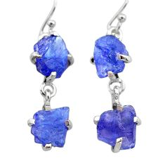 11.54cts natural blue tanzanite raw 925 sterling silver dangle earrings t21237