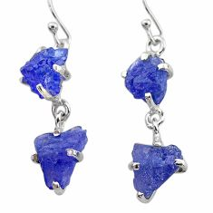 12.71cts natural blue tanzanite raw 925 sterling silver dangle earrings t21238