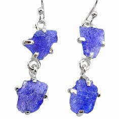 11.67cts natural blue tanzanite raw 925 sterling silver dangle earrings t21240