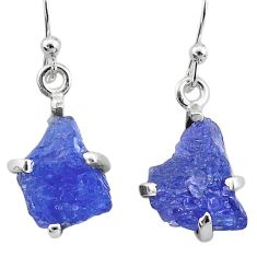 7.80cts natural blue tanzanite raw 925 sterling silver dangle earrings t6533