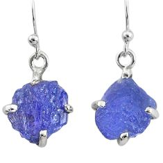 7.19cts natural blue tanzanite raw 925 sterling silver earrings jewelry t6534