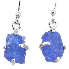 8.38cts natural blue tanzanite raw 925 sterling silver earrings jewelry t6535