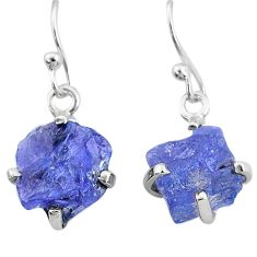 7.74cts natural blue tanzanite raw 925 sterling silver earrings jewelry t6537