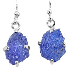10.09cts natural blue tanzanite raw 925 sterling silver earrings jewelry t6538