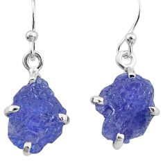 8.29cts natural blue tanzanite raw 925 sterling silver earrings jewelry t6539