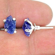 4.61cts natural blue tanzanite raw 925 sterling silver stud earrings t15386