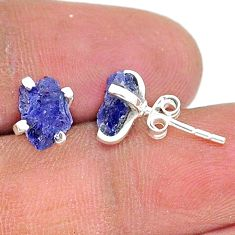 4.03cts natural blue tanzanite raw 925 sterling silver stud earrings t15391