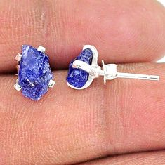 4.81cts natural blue tanzanite raw 925 sterling silver stud earrings t15395