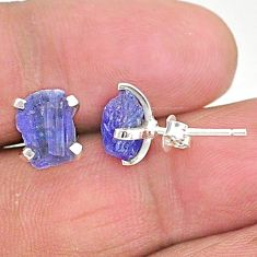 6.33cts natural blue tanzanite raw 925 sterling silver stud earrings t6868