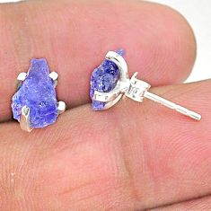 4.73cts natural blue tanzanite raw 925 sterling silver stud earrings t6869