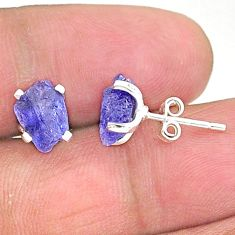 4.68cts natural blue tanzanite raw 925 sterling silver stud earrings t6874