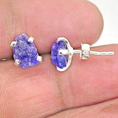5.24cts natural blue tanzanite raw 925 sterling silver stud earrings t6877