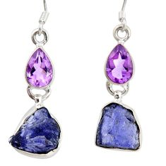 Clearance Sale- 11.07cts natural blue tanzanite rough amethyst 925 silver dangle earrings d40342