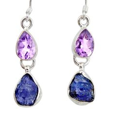 10.71cts natural blue tanzanite rough amethyst 925 silver dangle earrings d40345