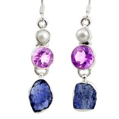 14.40cts natural blue tanzanite rough amethyst 925 silver dangle earrings d45797