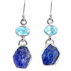 14.47cts natural blue tanzanite rough topaz 925 silver dangle earrings r62086