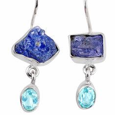 13.87cts natural blue tanzanite rough topaz 925 silver dangle earrings r62092