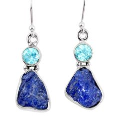 12.52cts natural blue tanzanite rough topaz 925 silver dangle earrings r62125