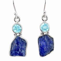 13.24cts natural blue tanzanite rough topaz 925 silver dangle earrings r62126