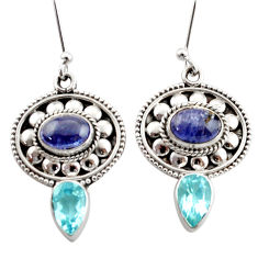 Clearance Sale- 6.76cts natural blue tanzanite topaz 925 sterling silver dangle earrings d40670