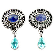6.53cts natural blue tanzanite topaz 925 sterling silver dangle earrings d40672