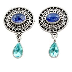 Clearance Sale- 6.53cts natural blue tanzanite topaz 925 sterling silver dangle earrings d40673