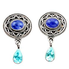 Clearance Sale- 5.99cts natural blue tanzanite topaz 925 sterling silver dangle earrings d40674