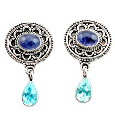 6.20cts natural blue tanzanite topaz 925 sterling silver dangle earrings d40677