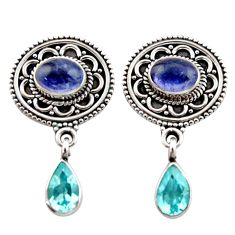 Clearance Sale- 6.35cts natural blue tanzanite topaz 925 sterling silver dangle earrings d40679